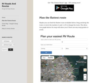 Flattest Route for RVs webpage