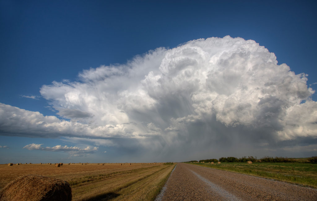Violent storms: Large supercell exploding over a prairie