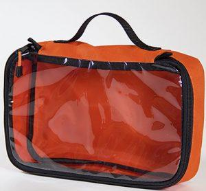 Orange go bag with transparent panel