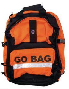 Orange backpack go bag