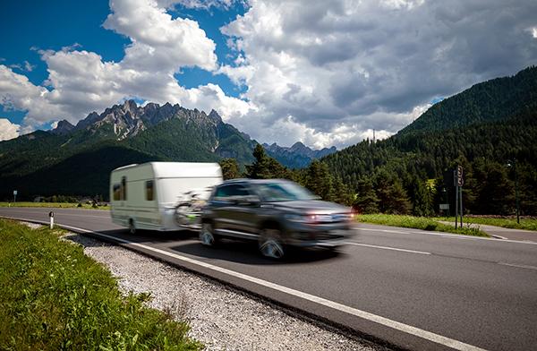 Disaster preparedness: SUV pulling travel trailer