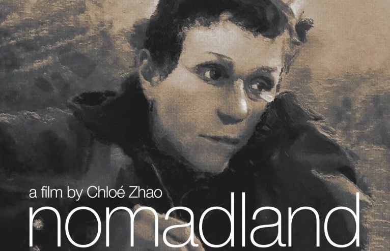 Nomadland movie poster featuring Frances McDormand